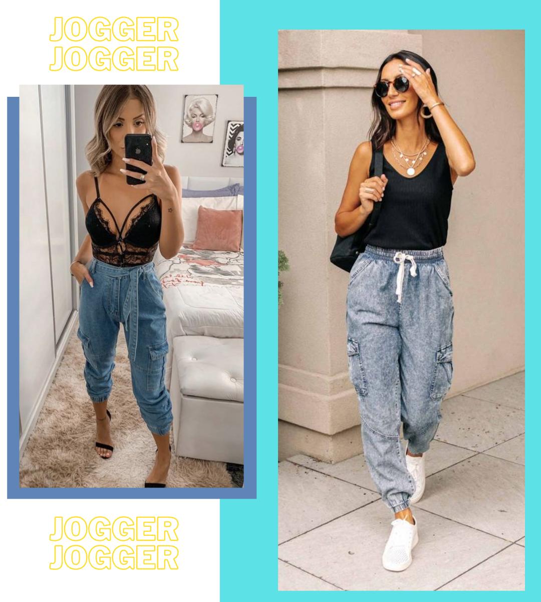 jeans jogger, calça jeans jogger, calça jogger com tênis